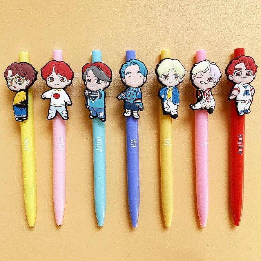 7pcs/lot Kpop J-HOPE Suga RM Jimin V JungKook Jin World Tour Lovely Cartoon PVC Soft Gel Pen Biro Toy Gift