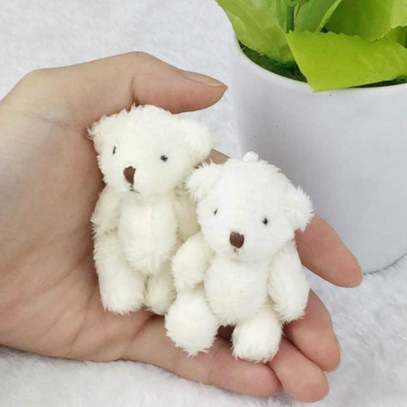 Urso de pelúcia de 6cm, pequeno urso, 5 pçs/lote, recheado, brinquedos para crianças, branco, rosa, marrom, pingente diy enfeites de aniversário