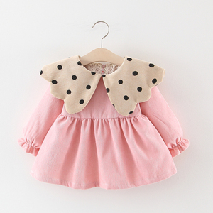 Платье для маленьких девочек одежда принцессы для маленьких девочек осенне-зимняя Вельветовая одежда в горошек с длинными рукавами одежда для маленьких девочек От 0 до 4 лет