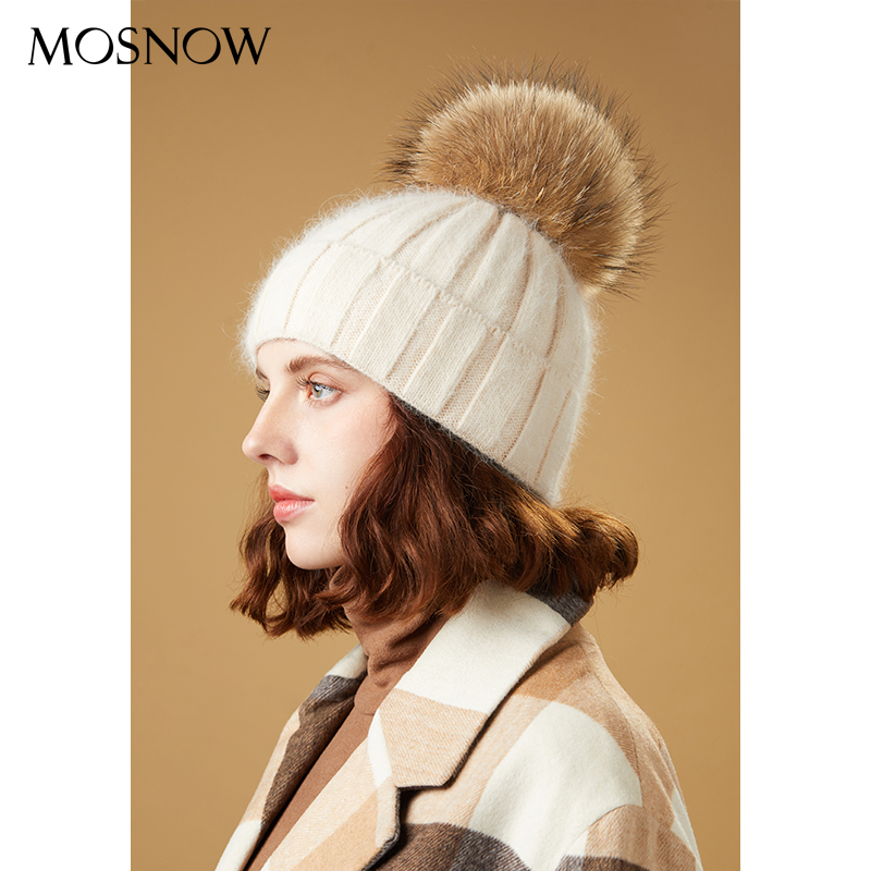 Winter Hats For Women Skullies Beanies Pompom Fur Hats Rabbit Knitted Thick Warm Lined Beanies Hat Lady Fashion Ski Caps