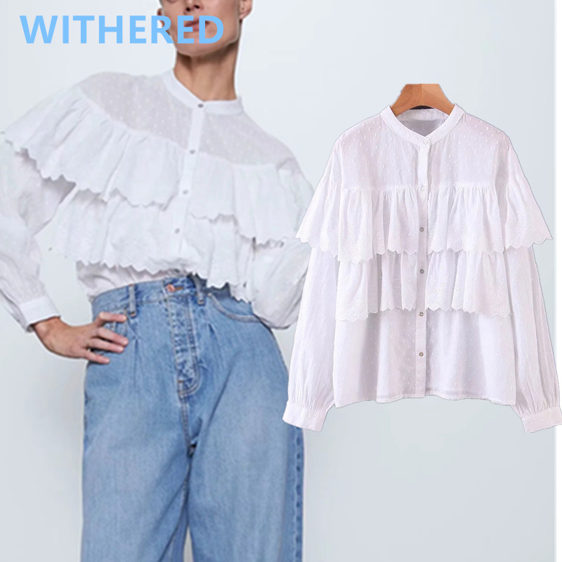 Withered England Office Lady Simple Splicing Romantic Cascading Perspective Blouse Women Blusas Mujer De Moda 2020 Kimono Shirt