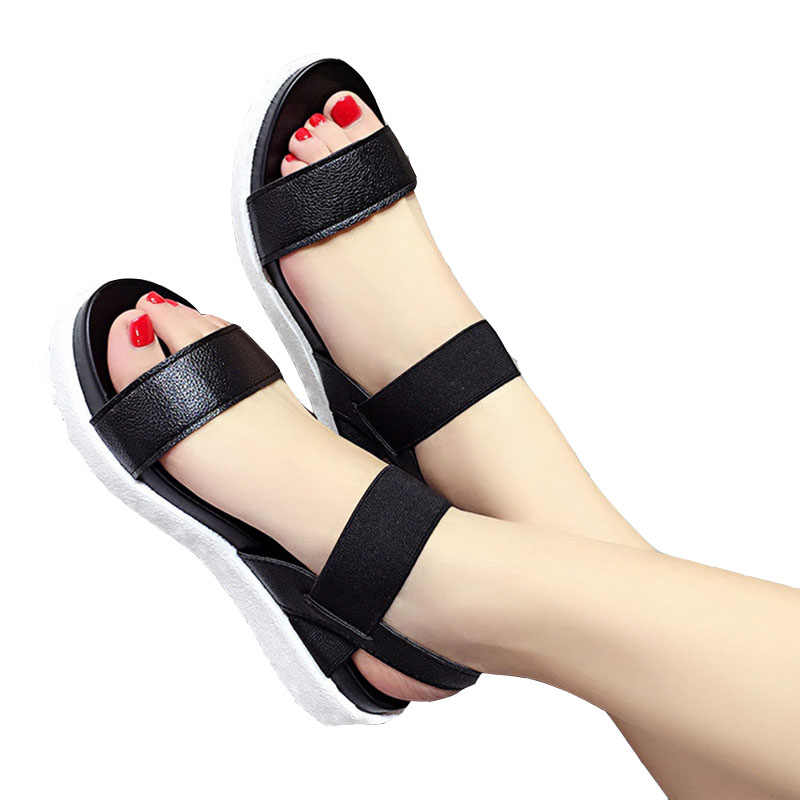 Darmowa wysyłka 2019 lato Leopard ziarna sandały damskie sandały buty kobieta peep-toe płaskie buty rzymskie sandały damskie sandały