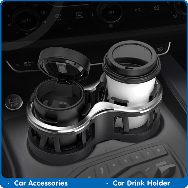 Car Drink Holder Double Hole Beverage Holder Auto Drink Bottle Cup Holder Water Bottle Mount Stand Coffee Drinks Car Accessories