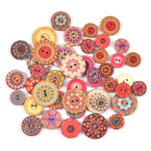 Wood-Buttons Clothing Crafts-Accessories Handwork Scrapbook Flower-Pattern Sewing 50pcs