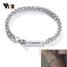 Vnox Laser Engrave Stamp Name Initial Bracelet for Women Men Metal Spiga Wheat Chain Wristband Casual Punk Jewelry 3 Ways Wear
