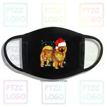 Chow Chow Dog Santa Christmas Lights Mouth Face Mask