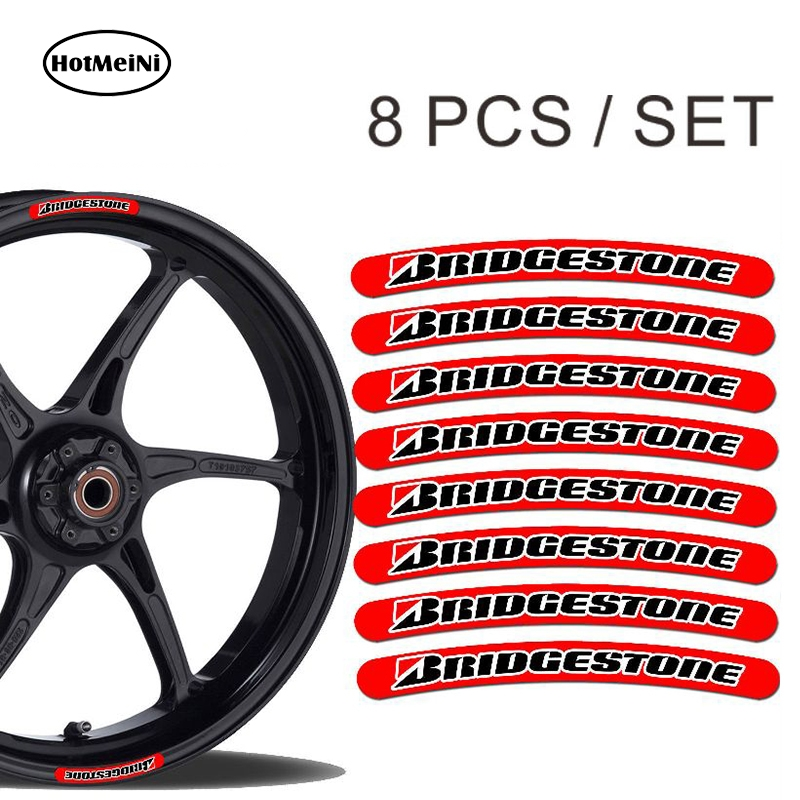 HotMeiNi 13cm X 1.3cm 8x For Bridgestone Rim Sticker Wheel Stripes Set Car Motorbike Motorcycle Racing Decal Flat Glue Sticker