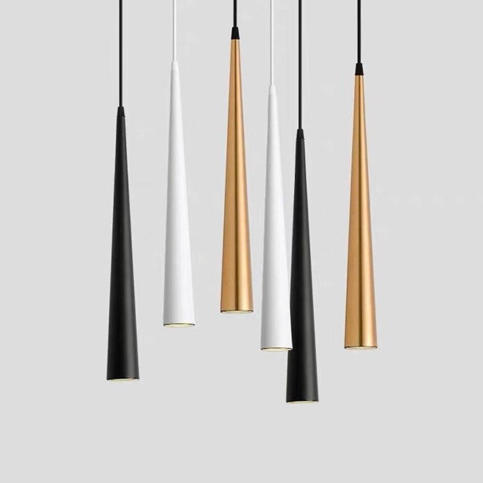 Cone LED Pendant Lights Long Tube Lamps Kitchen Dining Room Shop Bar Decoration Cord Pendant Lamp Background Lighting AC85-265V