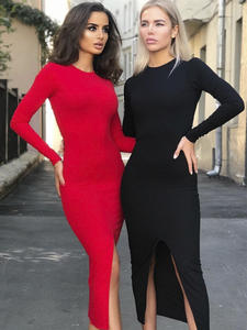 NIBBER Bodycon Dress Stretch Club Party Backless Black Autumn Red Night-Simple Medium