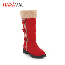 HARAVAL Luxury Woman Winter Mid calf Boots High Quality Flock Warm Ro Toe Low Heel Shoes Solid Casual Buckle Basic Boot B282