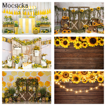 Sunflower wooden wall backdrop for photography newborn kids portrait photo booth background studio Beehive Honey Cake Smash Bee