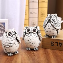 3pcs/set Resin Retro Don't Look Don't Talk Don't Listen Style Owl Figurine Ornament Creative Vintage Sculpture Modern Home Decor(China)