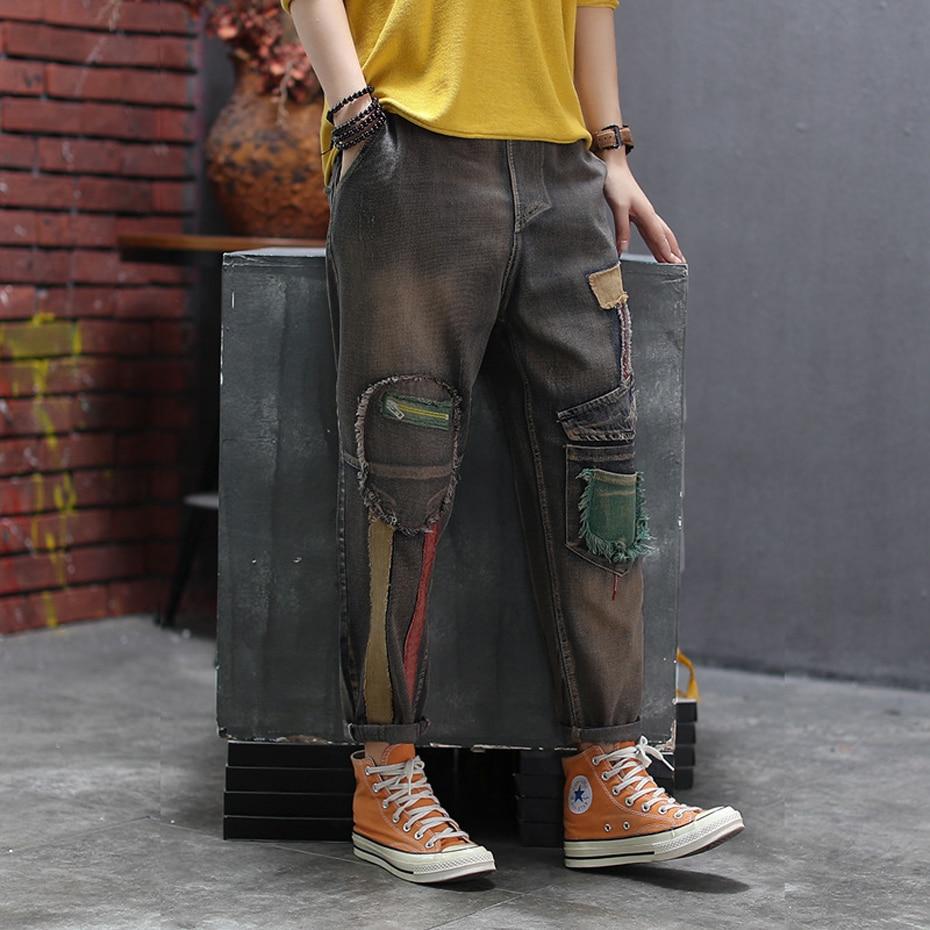 Women Big Jeans Denim Pants Joggers Retro Vintage Fashion Casual Long Loose Oversized Patchwork Bleached For Autumn AZ57213417