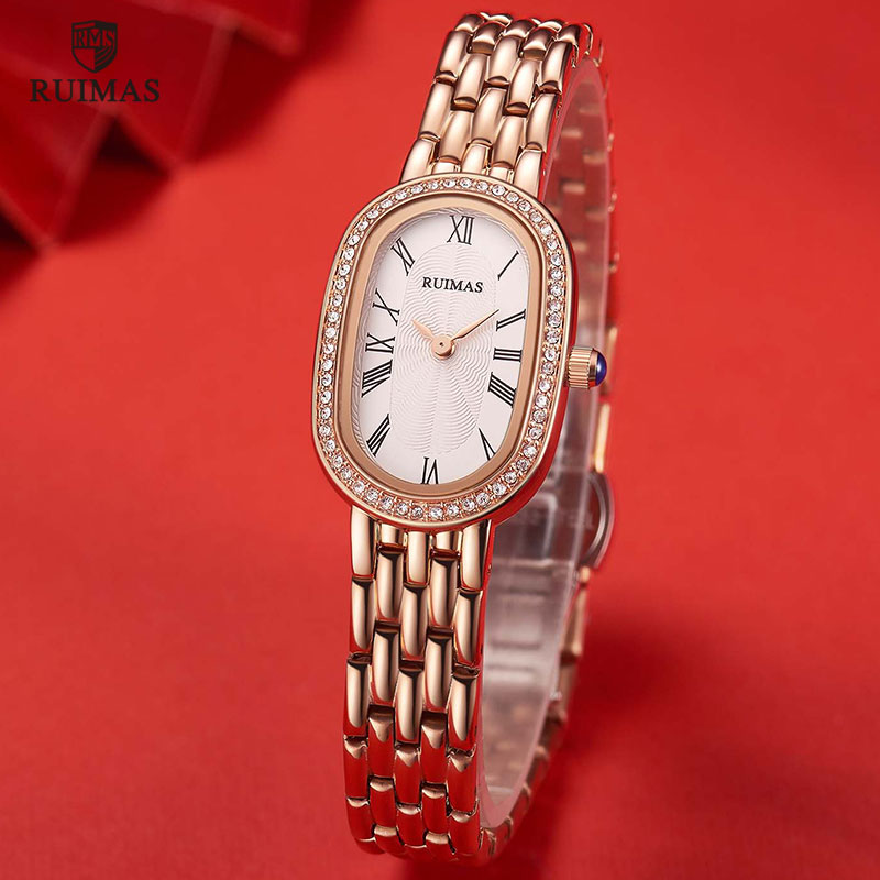 RUIMAS Ladies Watches Rose Gold Luxury Women Bracelet Watch Female Fashion Girl Stylish Quartz Wristwatch Oval Clock Relogio <font><b>558</b></font> image