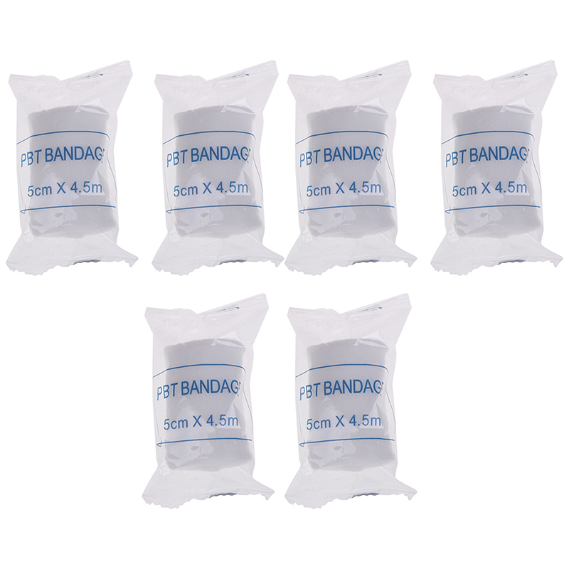 6 Rolls/lot 5cmx4.5m PBT Elastic Bandage First Aid Kit Gauze Roll Wound Dressing Medical Nursing Emergency Care Bandage