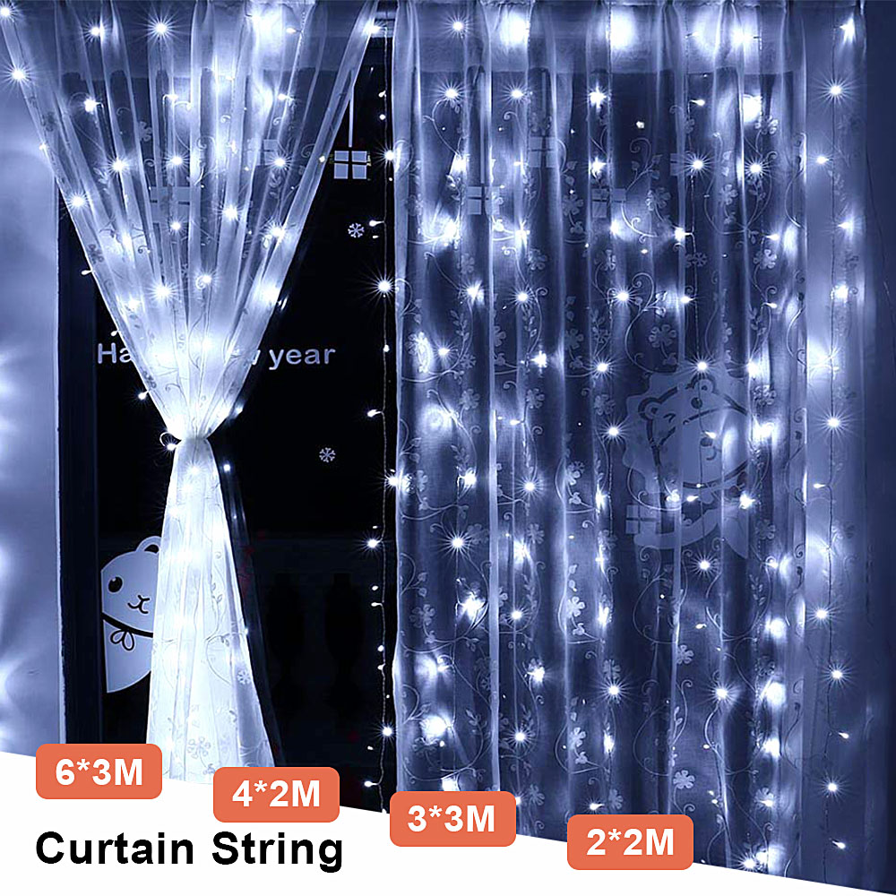 6x3/3x3 LED Curtain Fairy Lights Outdoor Christmas Garland String Lights Indoor Home For Wedding/Party/Garden Decoration EU Plug