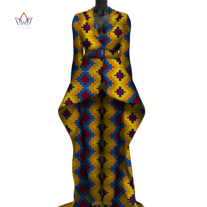 2019  Turn Down Collar African Dashiki Traditional Two Piece Pants Set Women Plus Size Woman Sets Of Clothes Full Sleeve WY3050