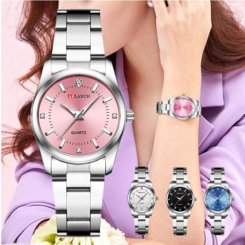 Bracelet Watch Clock Belt Quartz-Dress Diamond Silver Pink Small Waterproof Women Ladies title=