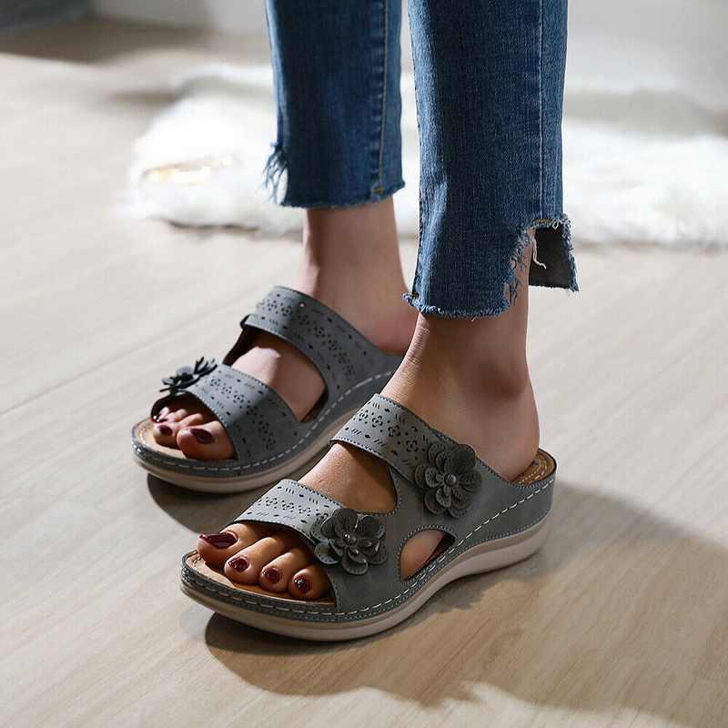 2020 çiçek sandalet kadınlar Vintage ayakkabı bayanlar rahat ayak bileği Hollow yuvarlak ayak Sandal yumuşak yaz ayakkabı Chaussures