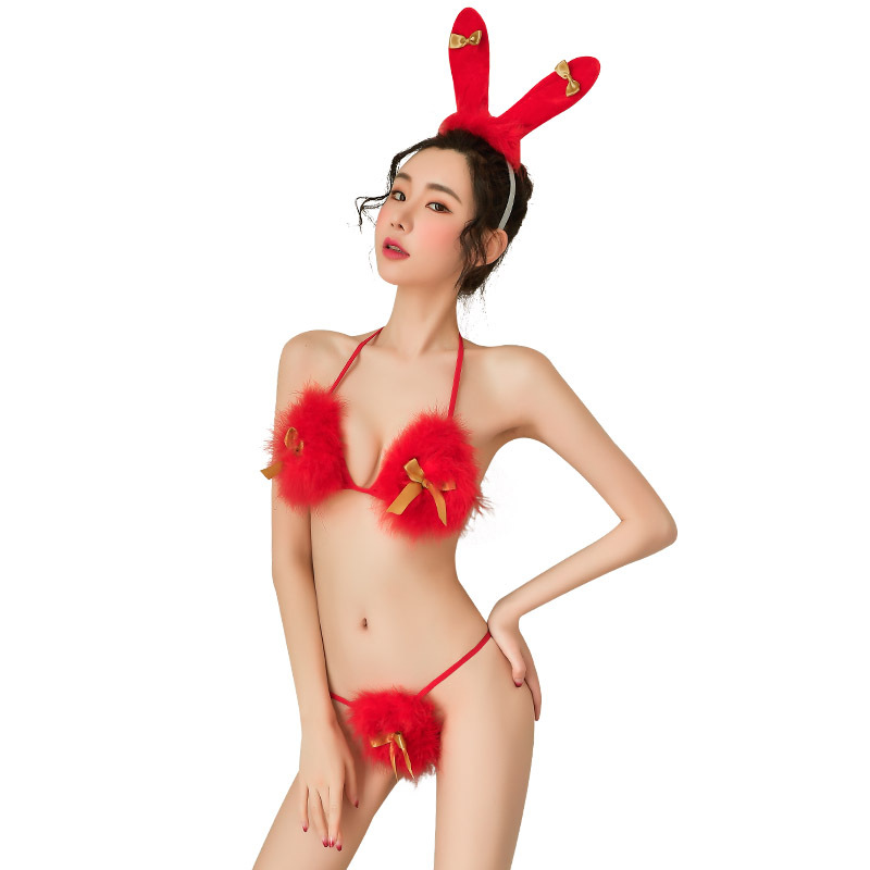 Temptation <font><b>Sexy</b></font> <font><b>Cosplay</b></font> Red Lingerie Christmas Bunny Girl Rabbit Uniform Erotic Lingerie Set <font><b>Sexy</b></font> <font><b>Halloween</b></font> Costumes image
