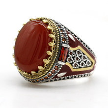 Turquie bijoux hommes bague avec Agate naturelle rouge pierre 925 en argent Sterling Vintage roi couronne CZ émail anneaux pour les femmes mâle cadeau