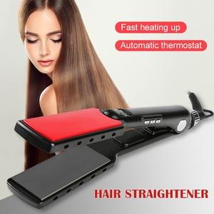 Image 4 - Professional Hair Straightener High Temperature Wide Plates Keratin Straightening Irons Styling Tool Titanium Flat Iron LED Dis