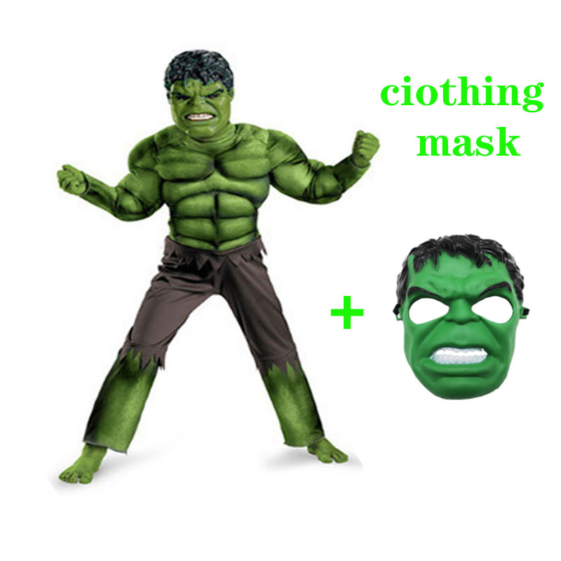 Superhero Kids Muscle Hulk Cosplay Costume Mask Avengers Children's Halloween Children's Day Gifts