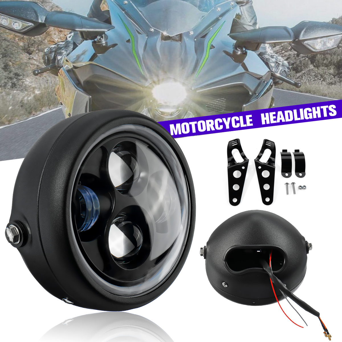 """7"""" Black LED Round Headlight Sealed Metal Headlamp Cold White Light DC 12V Motorcycle Headlight Lamp With Brackets For Harley"""