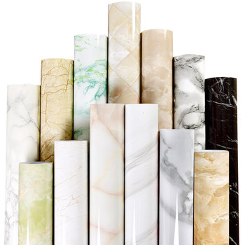 Waterproof Oil-proof Marble Self Adhesive Wallpaper Vinyl Film Wall Stickers Bathroom Bedroom Kitchen Furniture Home Improvement thick waterproof pvc imitation marble pattern moisture proof stickers wallpaper kitchen bathroom self adhesive wall stickers