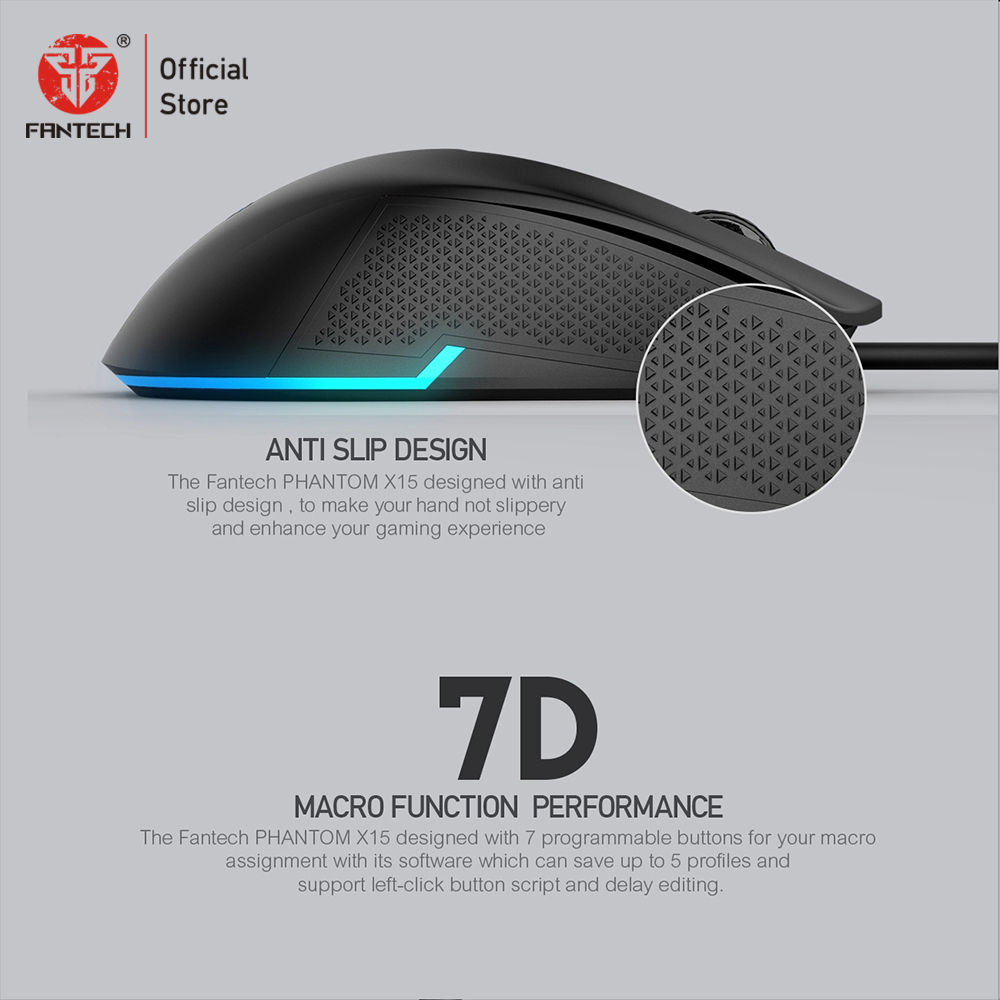 Image 4 - FANTECH X15 Optical Wired Gaming Mouse Adjustable 4800 DPI 20 million cycle 7 Button Macro Professional mouse gamer for pc game-in Mice from Computer & Office