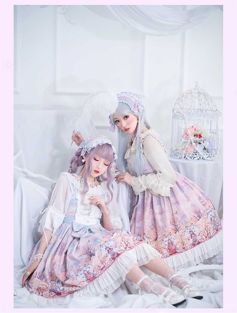 Princess tea party sweet lolita dress vintage lace bowknot high waist printing victorian dress kawaii girl gothic lolita jsk cos
