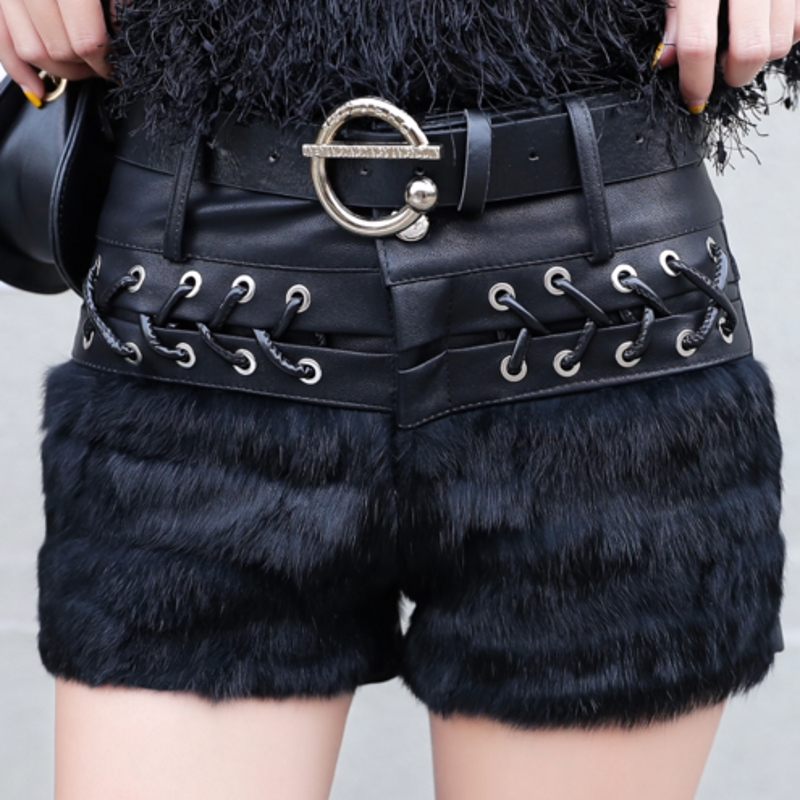 Hot Korean Clothes Patchwork Fur With Belt Lace Up Shorts 2019 Women Autumn Winter Fashion PU Sexy Leather Short Feminino B9N311