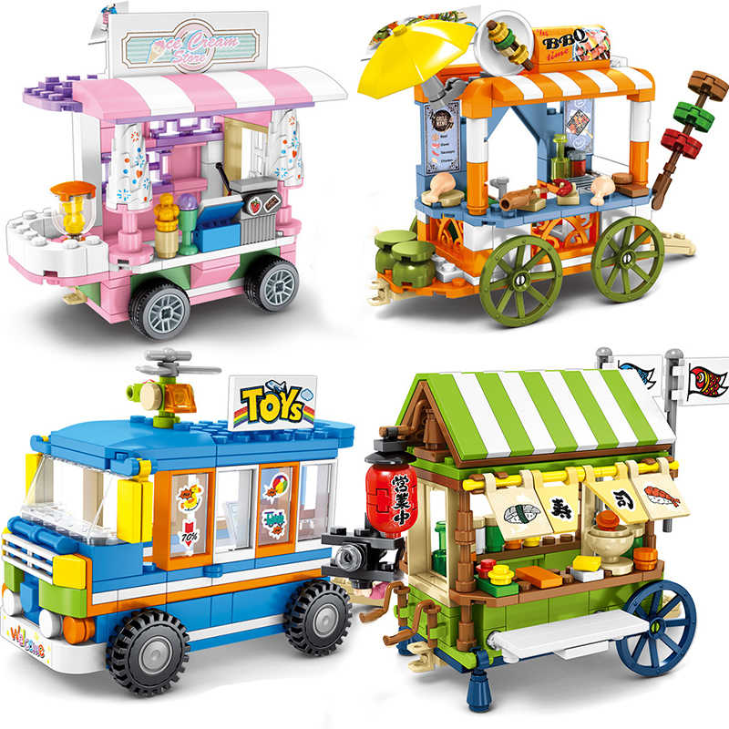 City Street View Compatible Legoingly Friends Creator Ice Cream Truck Food Store Buildings Blocks Educational Toys For Children