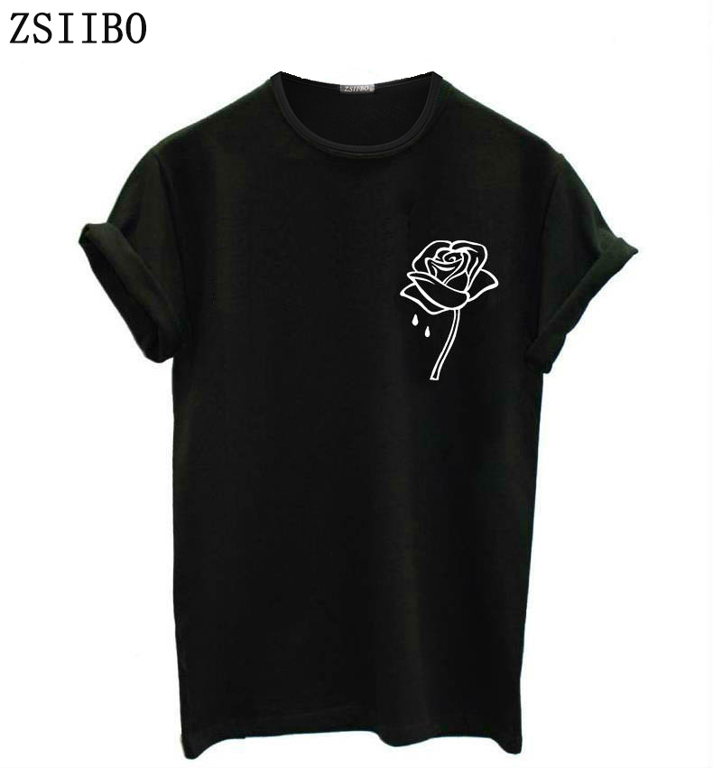 ZSIIBO Rose Flower Pocket Print Women Tshirt Casual Funny T Shirt For Lady Top Tee Hipster Tumblr Drop Ship O Collar