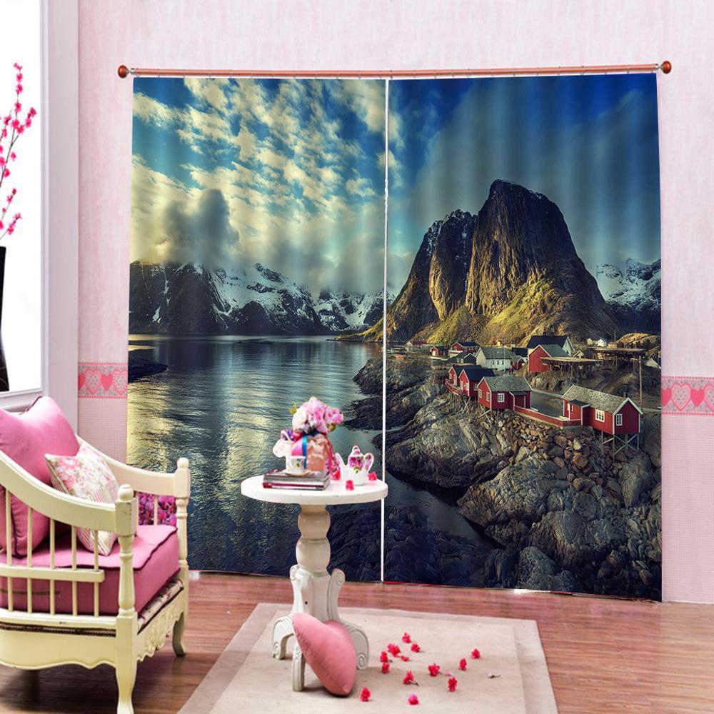 Пользовательские 3D озеро дом Декор душевая занавеска в комплекте пейзаж, заснеженный горы с серым небом печати для гостиной спальни