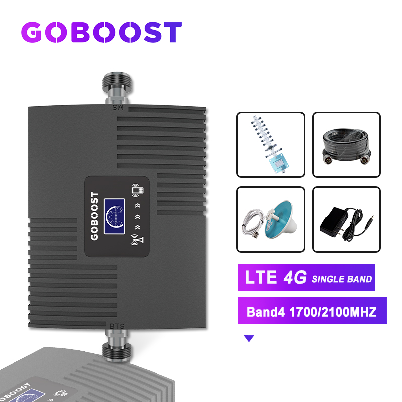 Cellular Amplifier 4G Repeater Band4 AWS 1700mhz LTE Cellular Signal Booster 4G Signal Booster Cell Phones Repeater LCD Display