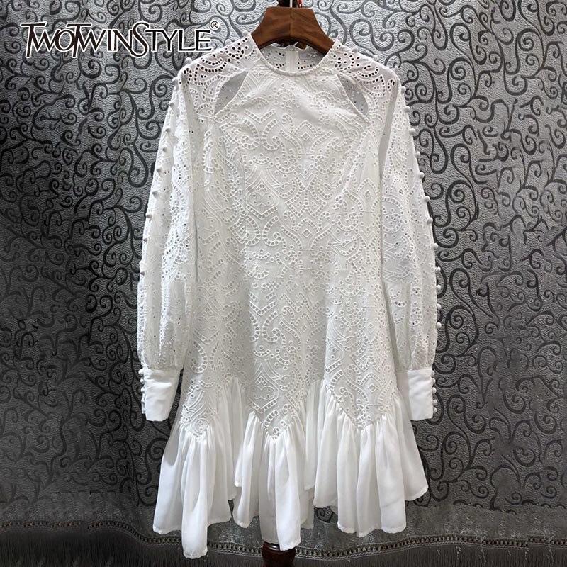 TWOTWINSTYLE Hollow Out Ruffles Dress Women O Neck Lantern Long Sleeve High Waist Asymmetrical Hem Dresses Female Fashion Tide