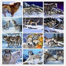 14 стилей полная Алмазная вышивка картина волк мозаика 5d Вышивка