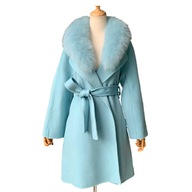 Women Winter Cashmere Coat with Real Fox Fur Collar Wool Jacket with Belt Women 2018 Fashion Cashmere Jacket Woolen Coat Female