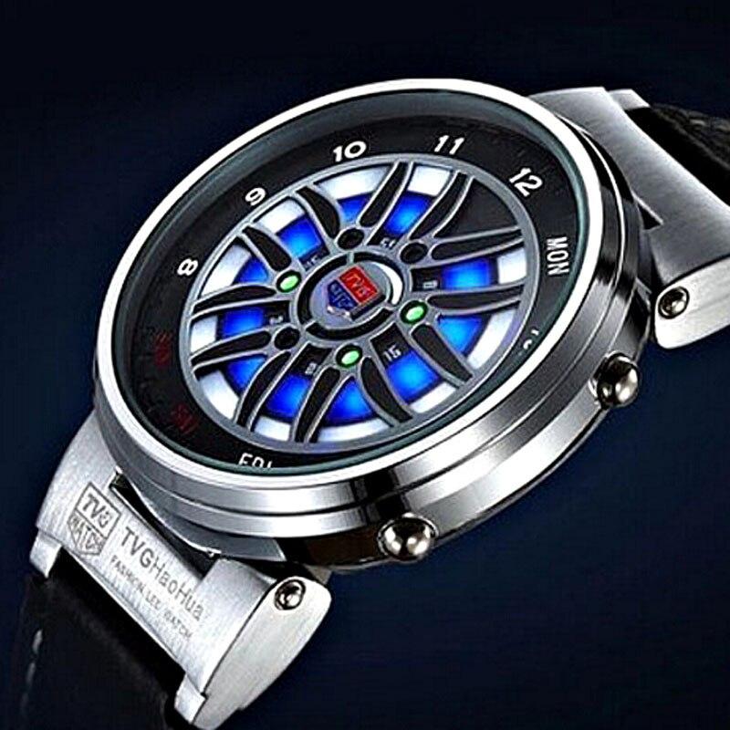 TVG уникальные креативные автомобильные часы с ободком рулетки, мужские синие светодиодные бинарные часы с кожаным ремешком, электронные наручные часы, мужские спортивные часы|Цифровые часы| | АлиЭкспресс