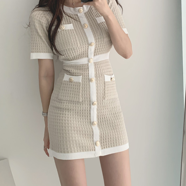Button Knitted Dress Bodycon Mini Vestido club Korean Summer Sexy Party Elegant Black 2020 Casual Sweater Dress Robes Clothes 5