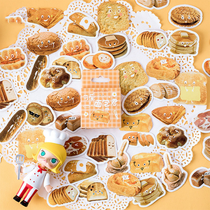 Mohamm Bread Series Kawaii Cute Sticker Custom Stickers Diary Stationery 46 Pcs