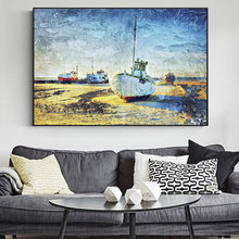 Рыбалка лодки на пляже искусство холст картины репродукции стену