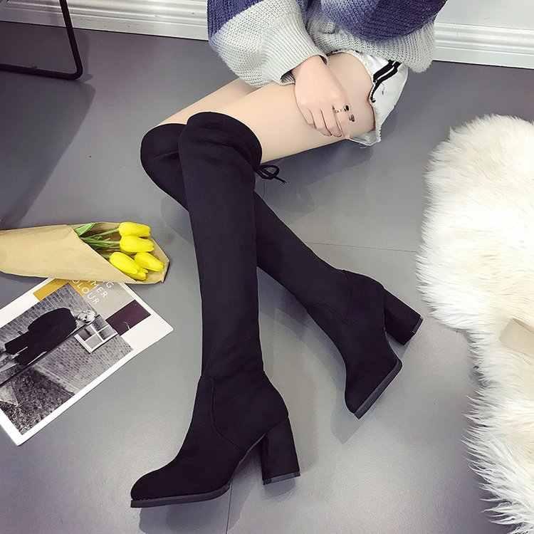 Kış kadın Rahat Over-the-diz çizmeler Botas Yüksek topuklu Parti elbise dantel-up kış kar çizmeler kadın ayakkabıları mujerG502
