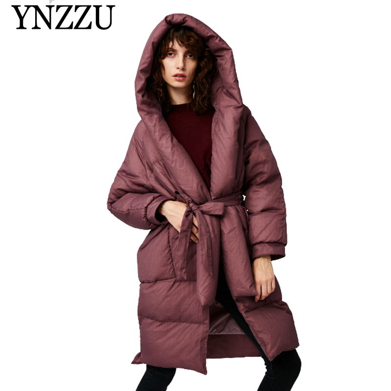 YNZZU New Solid Women Thick Warm Goose   down   jacket Long Loose Elegant With Belt   Down     coat   Personal Chic Female Overcoat YO918