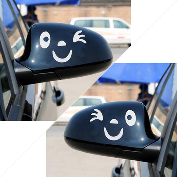 1 Pair Cute Smile Reflective Car Sticker Rear View Mirror Cartoon Smiling Face Sticker Car Decoration Decal image
