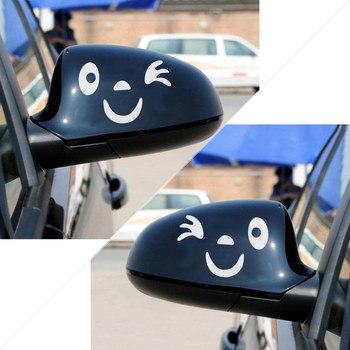 1 Pair Cute Smile Reflective Car Sticker Rear View Mirror Cartoon Smiling Face Sticker Car Decoration Decal
