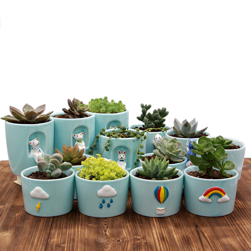 Creative Personality Weather Ceramic Pot Indoor Fleshy Green Plant Potted Elegant Celadon Animal Cartoon Cactus Flower Pot