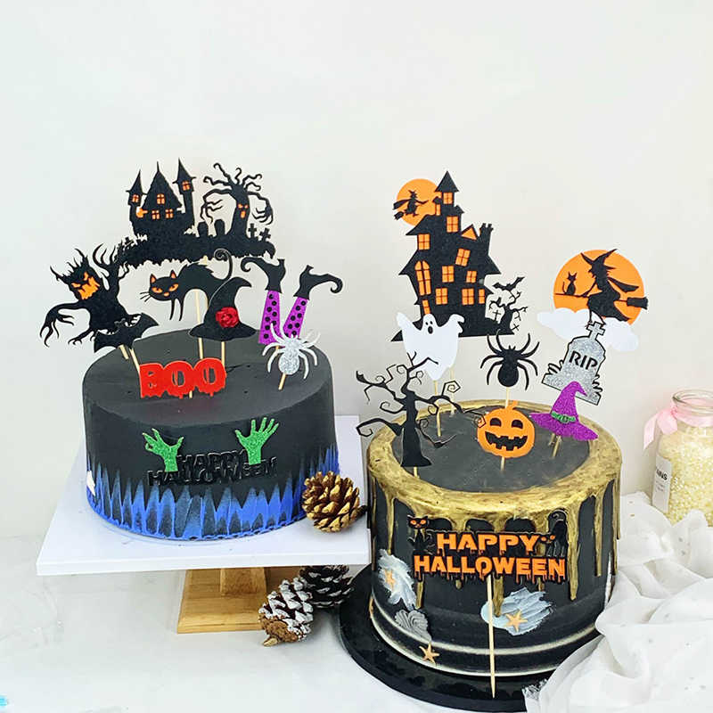 Halloween Zucca Witch Bat Fantasma Forma Cupcake Topper Decorazioni Per Bambini Childrens'day di Halloween Del Partito Della Torta Topper Decor 1 Set