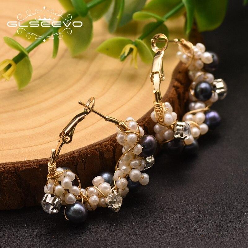 GLSEEVO Handmade Natural Fresh Water Pearl Hoop Earrings For Women Wedding Party Natural Stone Earrings Luxury Jewelry GE0870